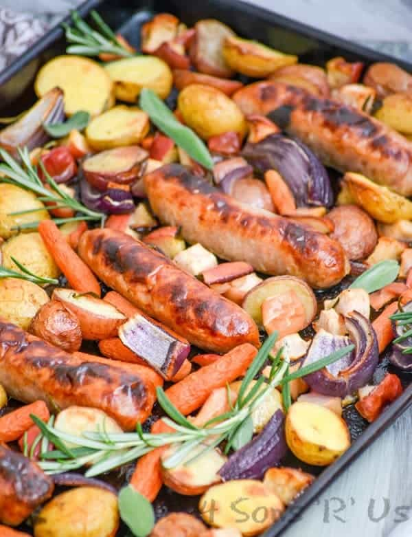 Sausage, Apple, And Herb Sheet Pan