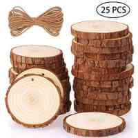25-Piece Natural Wood Slices