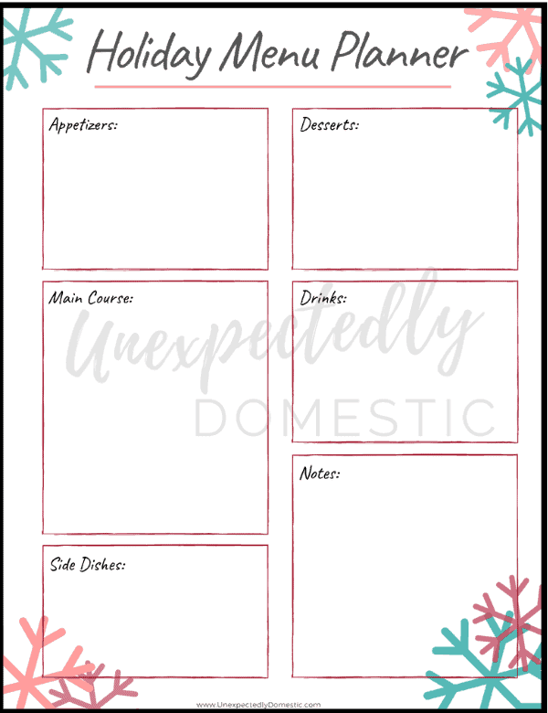 {Day 10} Holiday Meal Planner