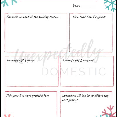 Free Christmas Memories Journal Printable