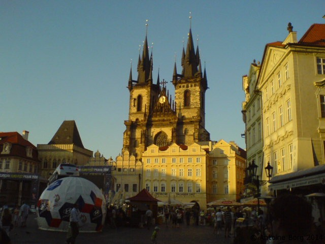 A picture of the Old Town Square at dusk - Prague, Czechia
