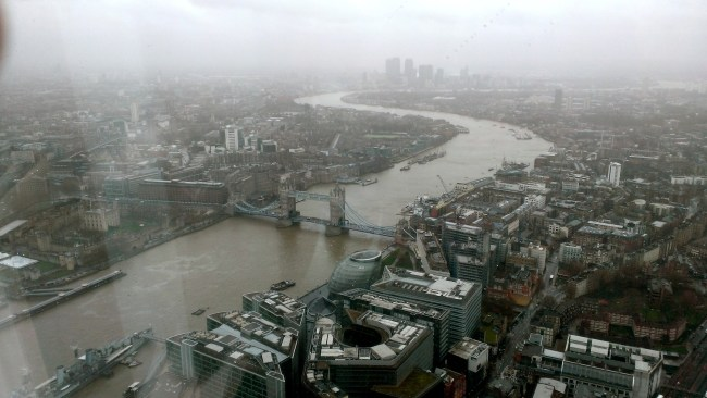 A tiny London Bridge, as seen from the Shard