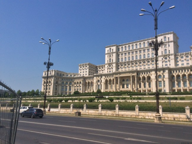 A photo of the facade of the Palace of the Parliament - Bucharest, Romania
