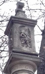 A photo of St Rocco on a sundial - Prague, Czechia
