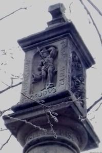 A photo of St Sebastian on a sundial - Prague, Czechia