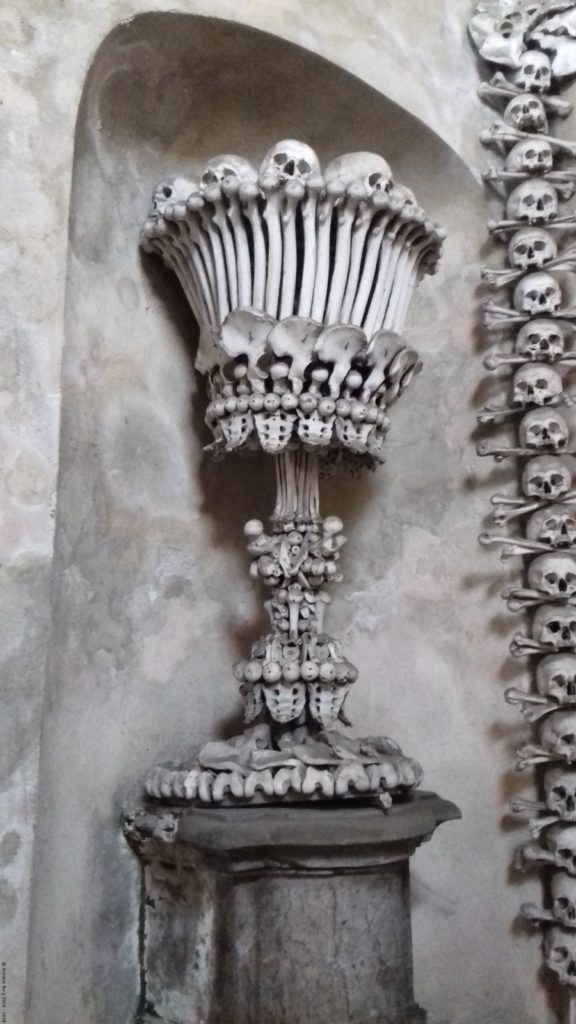 A photo of skeletal decor - Kutna Hora, Czechia