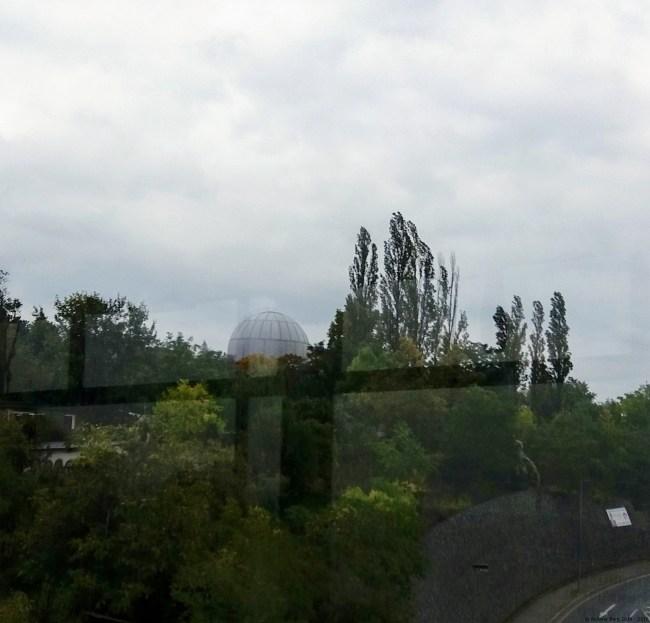 A photo of the gas tank as seen from the tram bridge - Prague, Czechia
