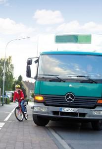Toter Winkel: Radfahrer in Gefahr. Foto: DVR.