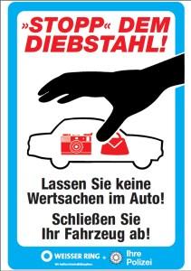 Keine Wertsachen im Auto lassen, warnt die Polizei. Grafik: Polizei Rheinland-Pfalz.