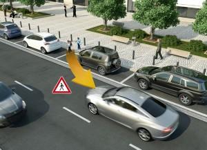 Vehicle-to-X Technologie ermöglicht den Austausch von Positions- und Bewegungsdaten zwischen Fahrzeugen und schwächeren Verkehrsteilnehmern. Grafik: Continental.