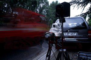 Radarmessstellen zur Geschwindigkeitskontrolle. Foto: Polizei NRW im Kreis Mettmann.