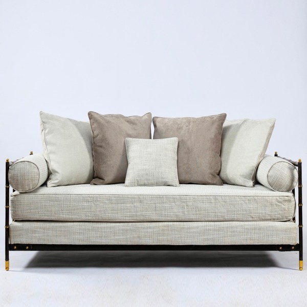 Saddle-stitched black leather daybed by Jacques Adnet - img1