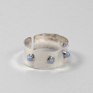 Silver and blue tourmaline cuff band by Ado Chale - img06