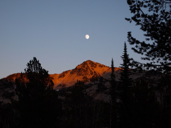 almost full moon over the Wallowas