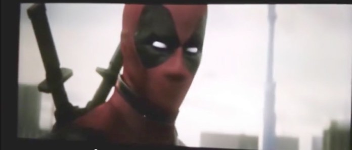 The scene opens with Deadpool listening (and singing along to Gwen Stefani's Hollaback girls) then notices you, the viewer.