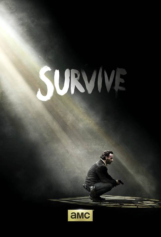 """""""Survive"""" teaser poster of Season 5 released after the end of Season 4, featuring Rick Grimes (Andrew Lincoln) kneeling in a dark room with a ray of light shining down on him. Photo by AMC."""