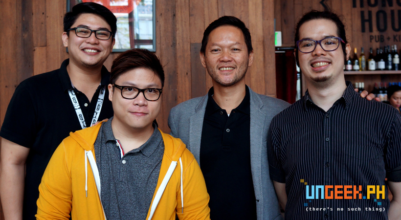 Me with CaLs Suntay and Jake San Diego of Globe Games with Ram Ronquillo of GG Network