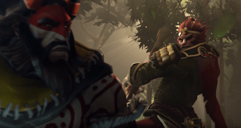 The Monkey King appears from behind to knock back the opposing hero!