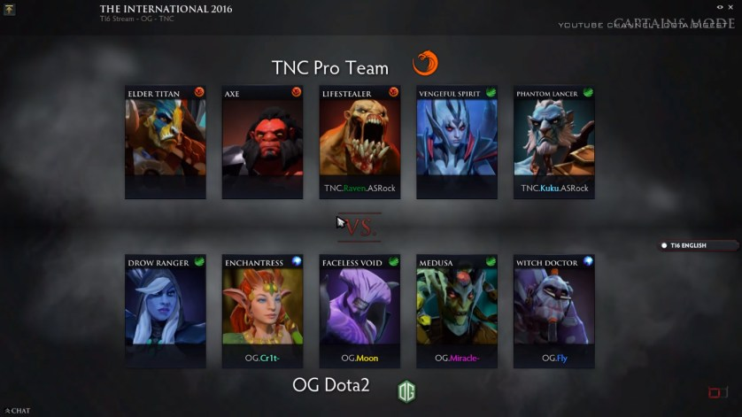 Game 1 Draft (Image courtesy of Dota Digest Youtube Channel)