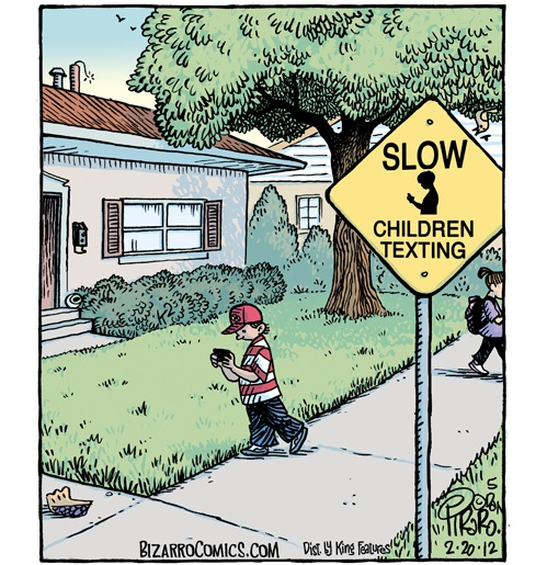 cuidado, niños textiando