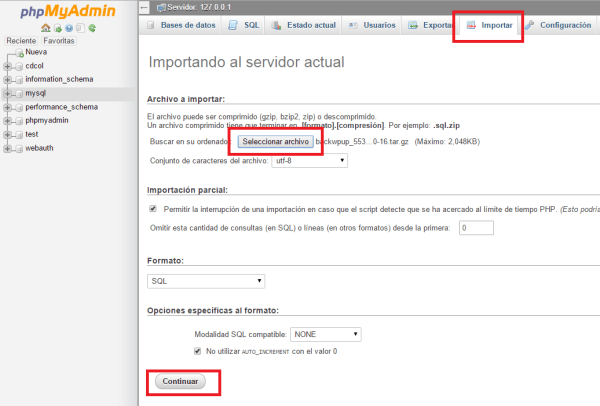Como restaurar un backup de WordPress
