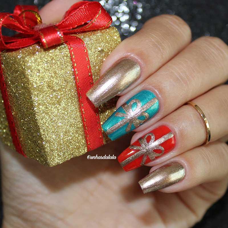 Unhas Decoradas Natal - Presentinhos