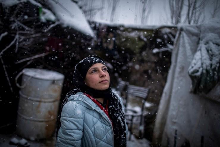 Lebanon. Refugees caught in heavy snow as winter storm JOYCE  hits Lebanon