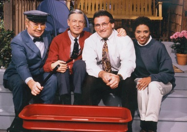 "On the set of ""Mister Rogers' Neighborhood,"" 1995."
