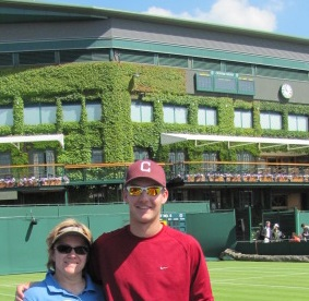Bev Benda and her son, Nick Moe, at Wimbledon.