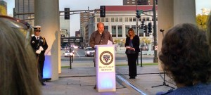 Mike Brue, an older brother of Mendota Heights Police Officer Scott Patrick, killed on duty in late July 2014, speaks at the Minnesota Concerns of Police Survivors' Blue Light Service Oct. 10, 2015, at the state Law Enforcement Memorial between the state capitol and downtown St. Paul. Photo: Theresa Knox
