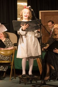 """Nine year old actress Emma-Lynn Dawes portrays the voices of Young Violet and Zuzu in """"It's A Wonderful Life""""."""