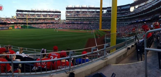 May 28: The view from our seats in Section 106, next to the left field foul pole.