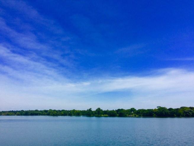 The Minneapolis skyline over Lake Hiawatha.