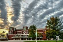 September 20: Ralph Engelstad Arena with finger clouds.