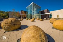 October 4: The North Dakota Heritage Center entrance on Bismarck with the large Cannonball rocks that are in place.
