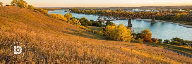 October 4: Sundown on the Missouri River in Bismarck.