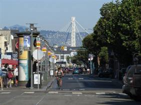 East Bay Bridge in the background as seen near Fishermen's Wharf and San Francisco Maritime National Historical Park.