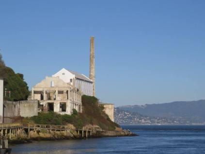 Approaching Alcatraz Island by ferry.