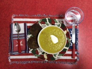 Venison patties are one of my two red meat options. Here, I paired them with homemade broccoli soup with dollop of Greek yogurt and one of the seven bottles of water I drink daily.