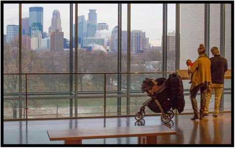 """December 10: My favorite view of the Twin Cities, photographed this morning from the Minneapolis Institute of Art before the snow began to fall. (Clicking the image on most devices will reveal the full image.) Earlier, Dorette and I were among a group bussed from the MIA to the Purcell-Cutts house near Lake of the Iles. It is regarded as one of the most significant examples in the country of Frank Lloyd Wright-influenced """"Prairie School"""" architecture. Afterward, we returned to the MIA for lunch and to revisit the museum's Wright collection."""