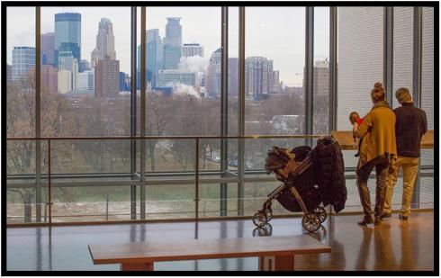 "December 10: My favorite view of the Twin Cities, photographed this morning from the Minneapolis Institute of Art before the snow began to fall. (Clicking the image on most devices will reveal the full image.) Earlier, Dorette and I were among a group bussed from the MIA to the Purcell-Cutts house near Lake of the Iles. It is regarded as one of the most significant examples in the country of Frank Lloyd Wright-influenced ""Prairie School"" architecture. Afterward, we returned to the MIA for lunch and to revisit the museum's Wright collection."