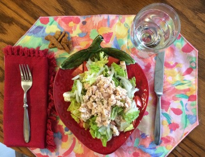 Lunch at a friends. She fixed an albacore tuna salad on a bead of mixed greens and a glass of water, totally on plan! A few sesame sticks add crunch.
