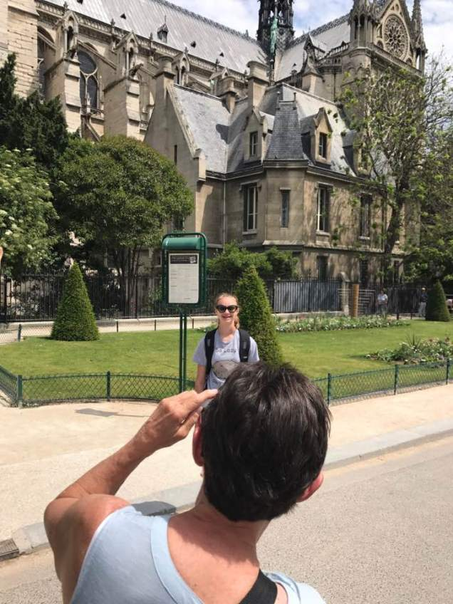 May 28: First day in Paris. Temperatures in the 80s, but so far that hasn't slowed us down much. Took this picture of Dorette and her granddaughter, Avery Dusterhoft, near Notre Dame.