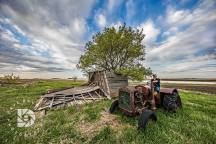 """May 19: """"Country Roads & Old Farmsteads of the Past."""" Riding the tractor,, but just couldn't get it to start!"""