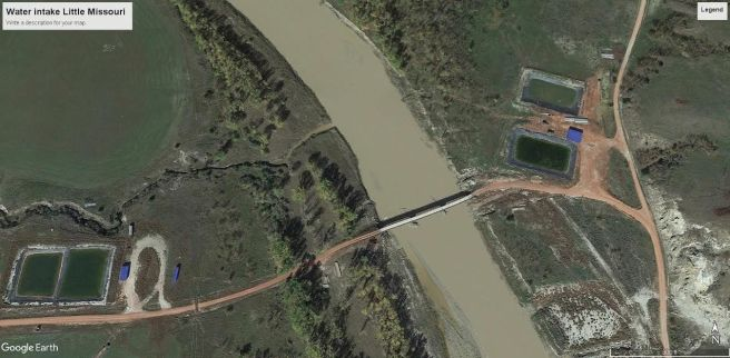 An aerial view of the new bridge over the Little Missouri and the Wylie Bice water depot, courtesy of Google Earth. Private land on the right, public land on the left.