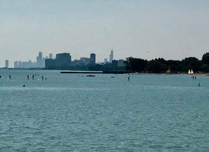 The city of Chicago, photographed from the Northwestern University campus in Evanston.