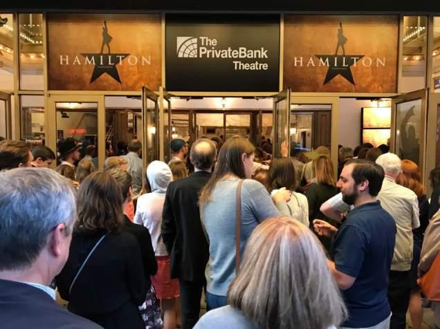 "Waiting in line for Chicago performance of ""Hamilton."""