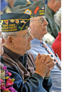 Garland Crook (right) Bismarck Veterans Day Observance 2015.