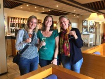 Nicole Wood, Andrea La Valleur-Purvis and Ingrid Wood enjoy a glass of wine at Freixenet winery.