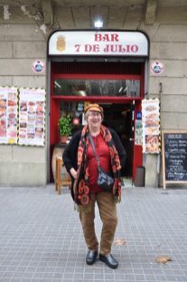 Ingrid insisted I have my photo taken in from of the July 7th Bar. That's my birthday.
